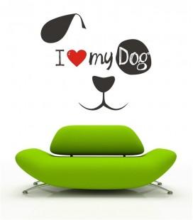 VINILO DECORATIVO I LOVE DOG