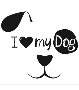 VINILO DECORATIVO I LOVE DOG