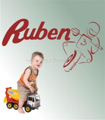 VINILO INFANTIL NOMBRE MOTO