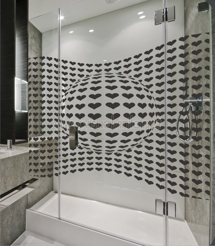Vinilo Decorativo Para Baño Corazones Opticos