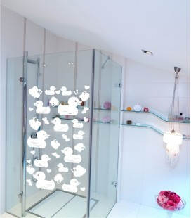 VINILO DECORATIVO PARA BAÑO PATITOS
