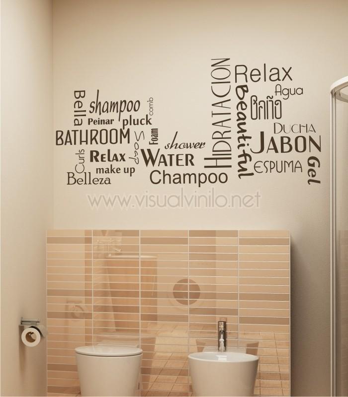 Vinilo decorativo para ba o texto for Vinilos adhesivos para paredes de banos