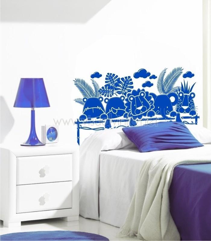 Vinilo decorativo cabecero cama infantil selva for Vinilo cabecero cama