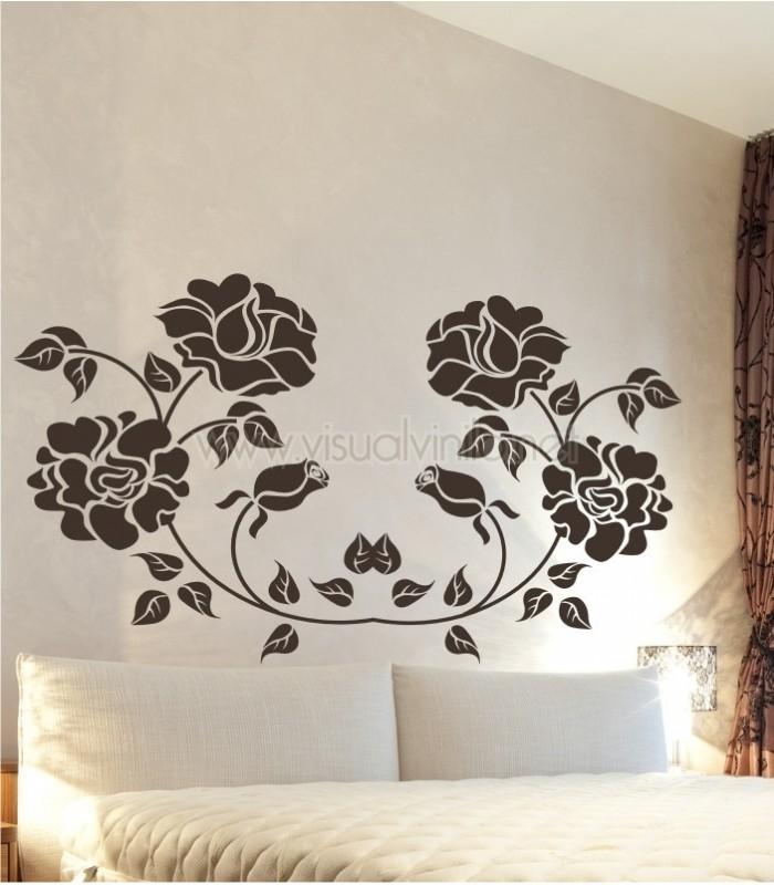 Vinilo decorativo cabecero cama rosas for Vinilo cabecero cama