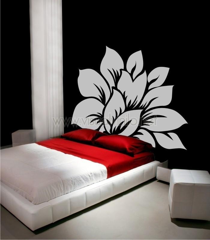 Vinilo decorativo cabecero cama floral for Vinilos cabecero cama