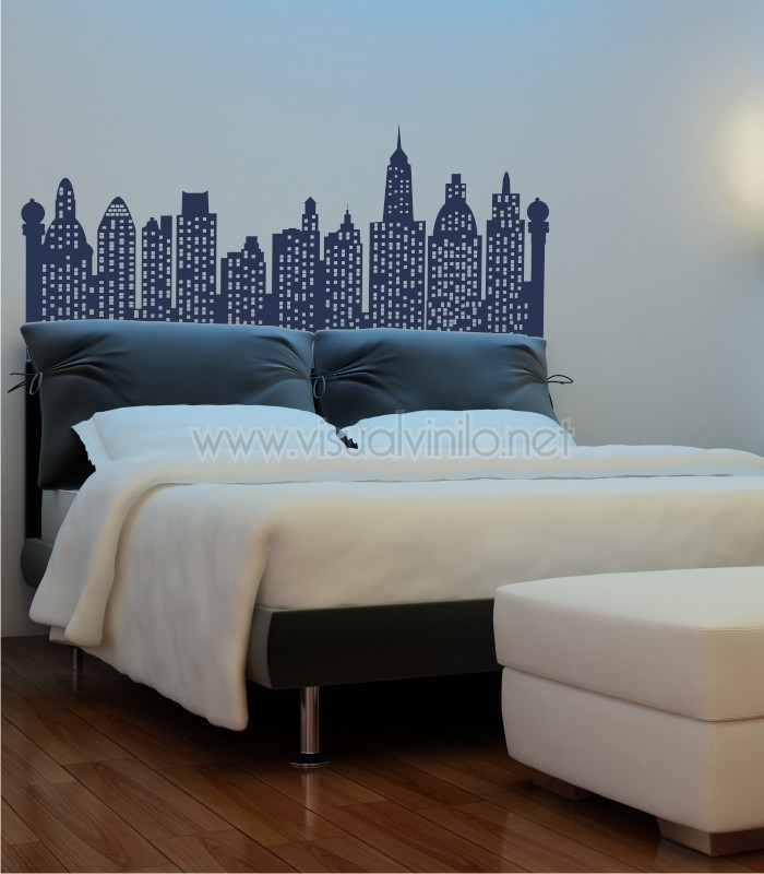 Vinilo decorativo cabecero cama city for Viniles para recamaras