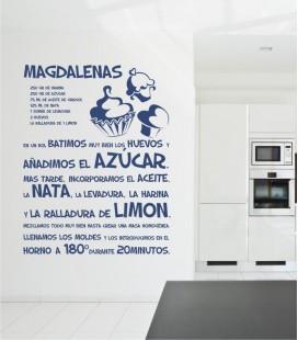 VINILO DECORATIVO COCINA RECETA MAGDALENAS